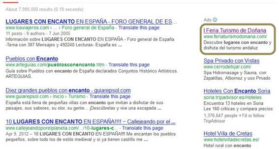 Anuncio SEM en Google de Linceo - I Feria de Turismo en Doñana